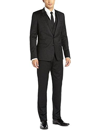 YSMO Herren Zwei-Knopf-Jacke 3 Stück flache Front Hose Vested Suit