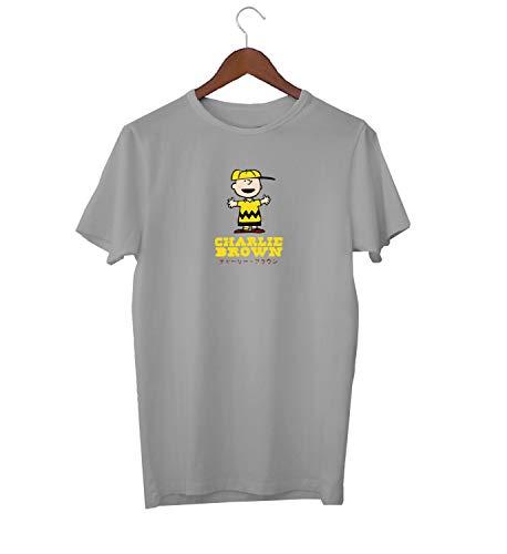 Charlie Brown Peanuts Japan Symbols Happy Boy_KK018032 Shirt T-Shirt Tshirt for Men Für Männer Herren Gift for Him Present Birthday Christmas - Men's - 2XL - Grey (Birthday, Brown Happy Charlie)