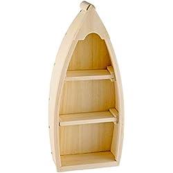 Bateau de pêche, bois brut, H : env. 26,5 cm, 2 étagères