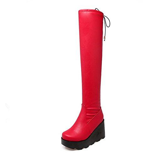VogueZone009 Donna Puro Luccichio Tacco Alto Allacciare Punta Tonda Stivali con Nodo Rosso-PU