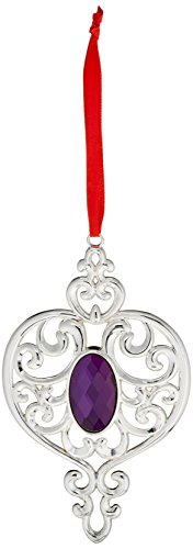 Lenox Holiday Ribbon (Lenox Dekoelement Herz mit Schmucksteinen Turm (Spire) Silver, Purple and red Ribbon)