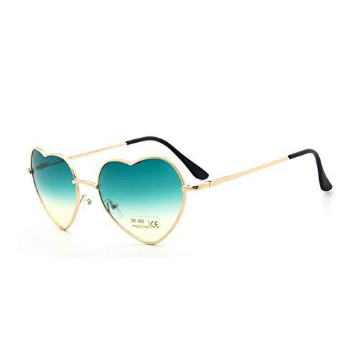 Sport-Sonnenbrillen, Vintage Sonnenbrillen, Fashion Heart Shaped Sunglasses Women Metal Clear Red Lens Glasses Fashion Heart Sun Glasses Mirror Oculos De Sol C2 green - Versace Red Lens