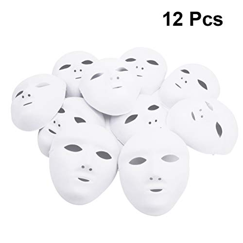 Amosfun Cosplay Weibliche Vollgesichts Halloween DIY Blank Malerei Maske Halloween Maskerade Party Cosplay Maske Halloween Karneval Kostüm 12 STÜCKE (Diy Halloween-kostüme Jungen)