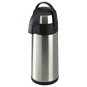 axentia Airpot in Silber, Pumpkanne aus rostfreiem Edelstahl, Isolierkanne mit Doppelwand, Isolierflasche mit Pumpe und unzerbrechlichem Korpus, Pump-Kaffeekanne mit Tragebügel, Volumen: ca. 5 L