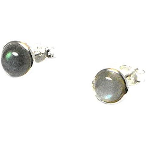 labradorite, forma rotonda–7mm–orecchini in argento Sterling 925, in confezione regalo (ls1905152)