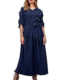 a7ccf878c310c WUZIFU Robe Maxi Fendue sur Le côté des Femmes pour Robe à Manches Longues  à col