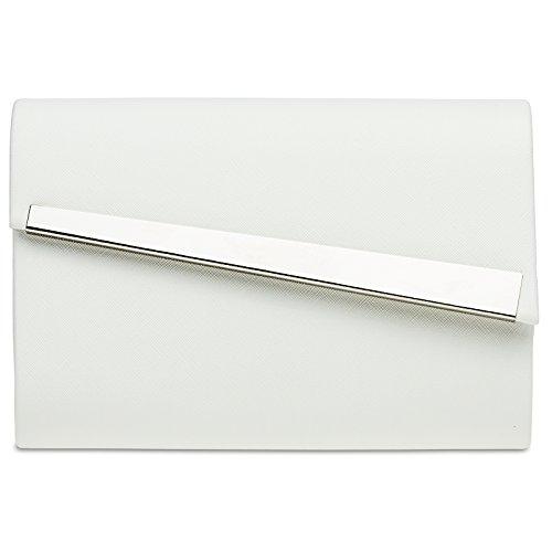 CASPAR TA418 Damen Metallic Baguette Clutch Tasche Abendtasche, Farbe:weiss;Größe:One Size