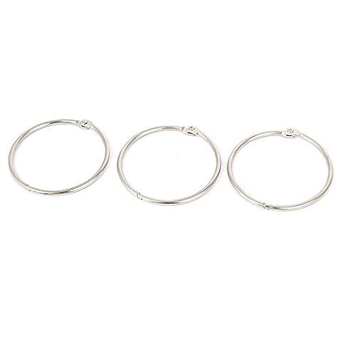 DealMux Metal Hinged Book Leaf Binder Ring 50mm Inner Dia 3PCS Silver Tone