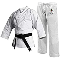 adidas Uniform-8oz Martial Arts Student Gi WKF Club Karate Uniform-Disfraz de Artes Marciales para Estudiante, Niños, Blanco, 130 cm
