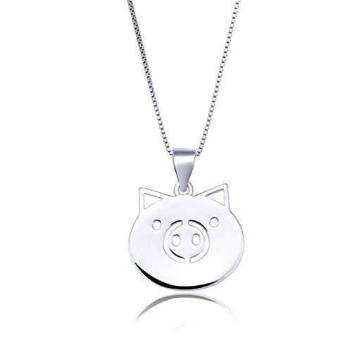 RYGQUEEN Meine Halskette 925er Sterling Silber Mode süß chinesischen tierkreises Schwein anhänger aufgewölbte Schwein anhänger Kette Geschenk - Schwein-anhänger-halskette
