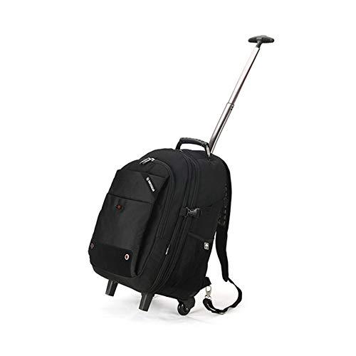 GJF Rucksack auf Rädern, Reise-Computer-Trolley, wasserdichte Business-Tasche aus Oxford-Stoff, Campingurlaub im Freien-Black - Auf Rädern-reise-rucksack