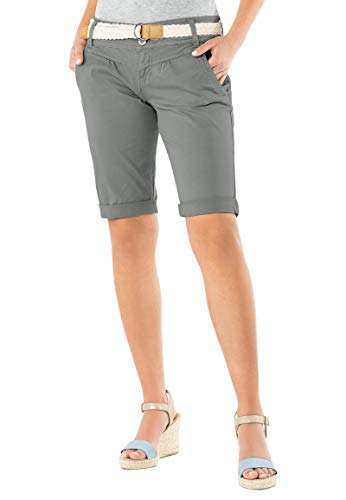 Fresh Made Damen Bermuda-Shorts in Pastellfarben mit Flecht-Gürtel | Elegante Kurze Hose im Chino-Style Light-Grey L -