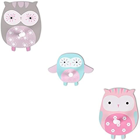Hoddmimis Home & Living Decorative Wall Hook for Kids (Owl Graphics,Set of 3)