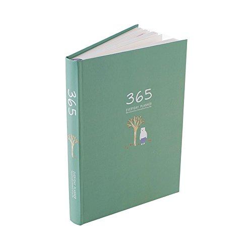 QC Life Uhr Planer, Hohe Qualität Kalender Organizer, mit Täglich & monatlich & Jährlich Plan, beste Zeit Management und bunt Seite grün