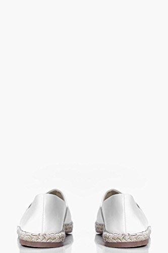 Damen Weiß Emma Espadrilles Mit Zehenpartie In Kontrastfarbe Weiß