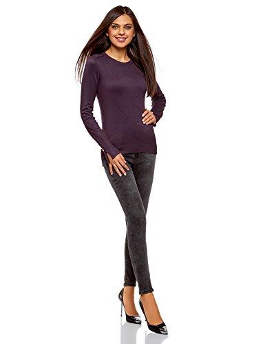 oodji Collection Damen Viskose-Pullover Basic mit Knöpfen an den Ärmeln Violett (8800N)