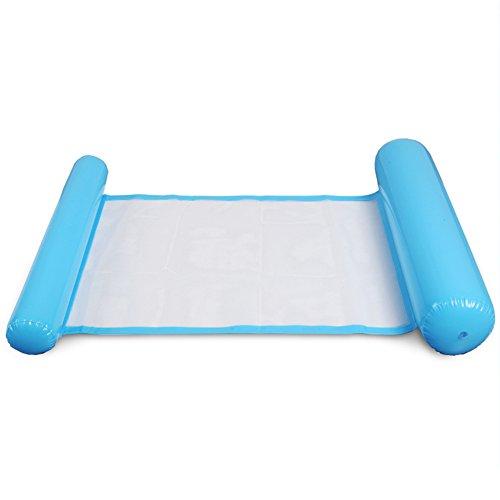 Neue faltbare PVC schwimmende Schlafsofa Stuhl Wasser Hängematte Einzelpersonen erhöhen aufblasbare Strand Liege Rückenlehne Liege ~(Blau) -