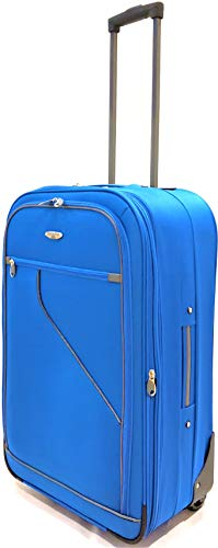 """26"""" Medium Super Lightweight Expandable Durable Hold Luggage Suitcase Trolley Case in 2 Wheels, Weighs only 2.77KG! (Blue/Grey)"""