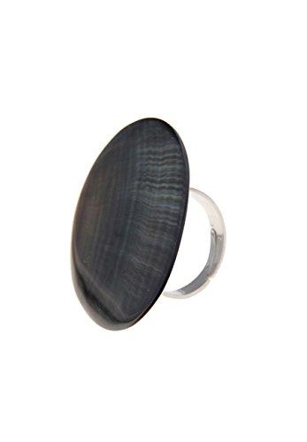 Leslii Ring Blacklip-Muschel Grau Silber | Trendiger Damen-Ring | Mode-Schmuck | Größe flexibel