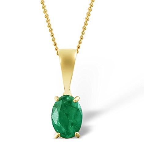 litär-Anhänger mit Halskette - Smaragd im Oval-Schliff 0,76 ct - Gold 9 Karat ()