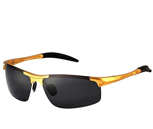 SHULING Sonnenbrille Elegante Optische Offset Sonnenbrillen Herren Sonnenbrillen Aluminium Magnesium Fahrer Spiegel, Kim Box/Grau Film