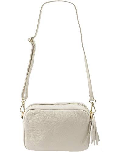 Freyday Echtleder Umhängetasche Clutch kleine Tasche Abendtasche 20x15cm (Beige) - Strass Beige Handtasche