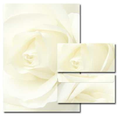 40-tlg. Motivpapier Komplett-Set WEISSE ROSE 20 Blatt Briefpapier + 20 passende Briefumschläge DIN LANG ohne Fenster
