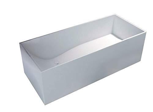 Bernstein Badshop Freistehende Badewanne aus Mineralguss LUNA STONE eckige Standbadewanne weiß - 170 x 72 cm - Solid Stone