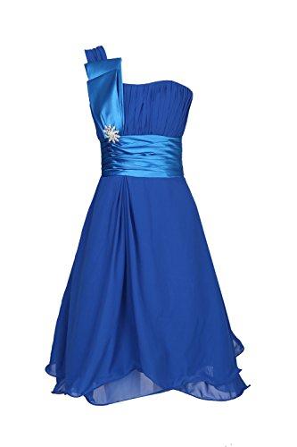 ROBLORA Robe De Cérémonie Soirée Cocktail Mariage Robe Demoiselle D'honneur une épaule courte 11890 (38, Bleu Roi)