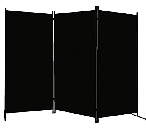 PARAVENT 260x180cm Trennwand Sichtschutz Blickdicht aus Stoff (Schwarz)