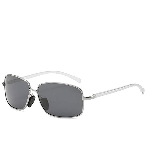DING-GLASSES Gläser Farbwechselnde Sonnenbrillen New Herren Polarized Fashion Business Sonnenbrillen Square Brillen for Herren (Color : Silver)