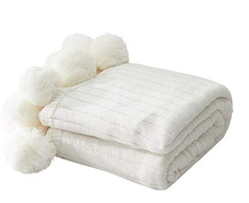DANANGUA 100% Baumwolle Gestrickte Decke Fellknäuel Mode Erwachsene Sofa Bettwäsche Dekorative Stricken Werfen Decke Geschenk (Color : White, Size : 150X200CM) - Importierte Bettwäsche