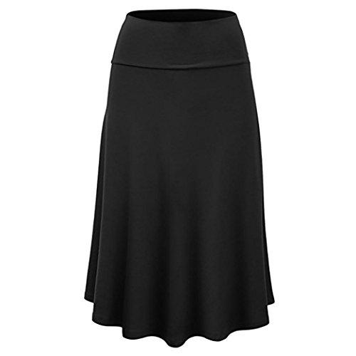 Rock Damen Sommer LHWY Frauen Solid Flare Saum Hohe Taille Midi Röcke Sexy Uniform Faltenrock Knielang Lang Kleid Große Größe S-3XL (M, Schwarz)
