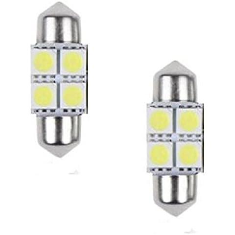 Ularmo 2 x 5050 31mm 4SMD coche cúpula Interior Festoon luz LED bombillas lámpara blanca de DC12V