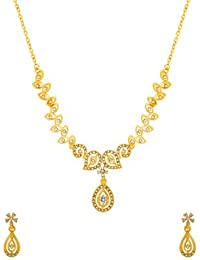 Valentine Gifts: Voylla Traditional Alloy With Yellow Gold Plated Faux Stone Necklace Sets For Women, Girlfriend...