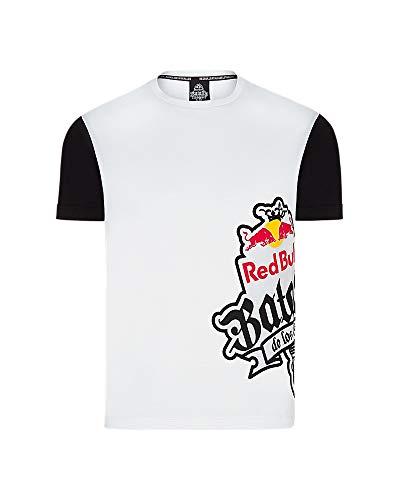 Red Bull Camiseta Batalla de los Gallos Original Ropa de Hombre de Manga Corta en Blanco Hip Hop Rap Freestyle Streetwear, Man White T-Shirt Sideprint