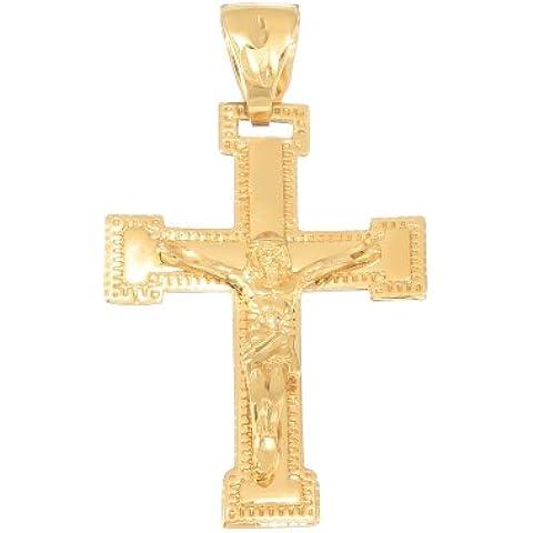 Grande Ciondolo Gesù Cristo Croce Crocifisso Placcato in oro giallo 14K