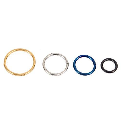 4 Piercing Septum Ring Ohrringe | Universal Segmentring für Helix Nase Tragus Lippe Brust | Intimpiercing Schmuck | Fashion Accessoire für Cartilage Septum Nippelpiercing | Beyond Dreams®