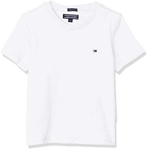 Tommy Hilfiger Jungen Boys Basic Cn Knit S/S T-Shirt, Weiß (Bright White 123), 164 (Herstellergröße: 14)