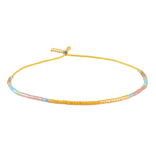 Bunt Samen Wulstig Dünn Seil Freundschaft Armband Handgewebt Mode Schmuck Zubehör, Gelb Schnur