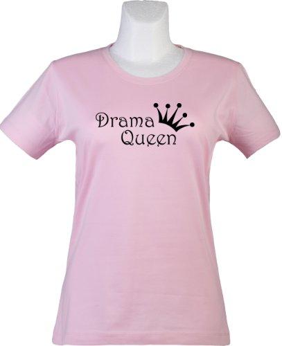bedrucktes Damen T-Shirt mit witzigem Spruch, Drama Queen, Größen S-XL, cooles Fun-Shirt ideal als Geschenk pink, Gr. (Queen Crown Drama)