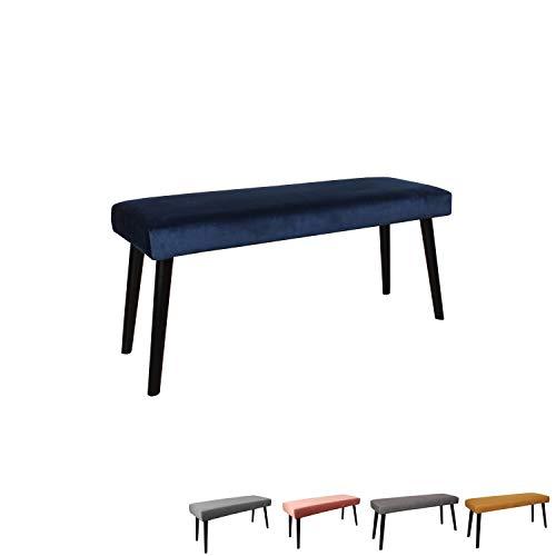 Nimara Gepolsterte Samt Sitzbank mit schwarzen Beinen | Perfekt für Esszimmer und Schlafzimmer und als Deko Bank | Erhältlich in grau, dunkelblau, rosa und Mehreren Farben | 100x35x45 (Blau)
