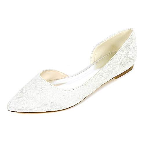 SheBridal Mehrfarbig Brautschuhe Lace Spitz Toe Slip auf Flache Hochzeitsschuhe,Ivory,EU39