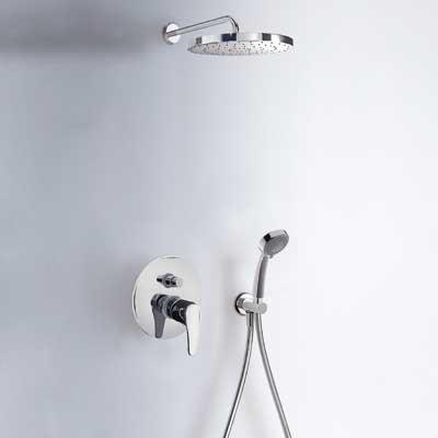 Kit de ducha monomando empotrado · Ducha fija Ø225mm. · Ducha móvil masaje Ø80mm. (2funciones). · Flexo SATIN.