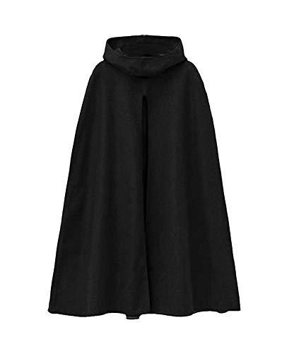 Umhang Damen mit Kapuze Cape Mantel Poncho Damen Winter Cape Outwear Schwarz M