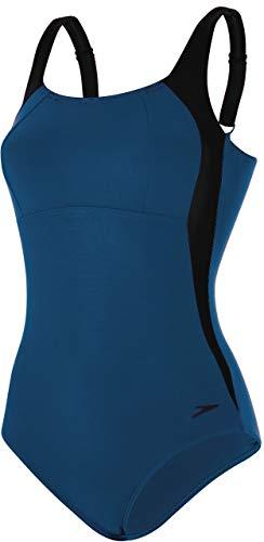 Speedo Damen Badeanzug Luna Glanz, damen, 810835C665, blau (Deep Indigo/Black), 38 - Mittlerer Glanz