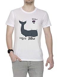 Hitchhikers Guide To The Galaxy Hombre Camiseta Cuello Redondo Blanco Manga  Corta 5f95bb39e1905