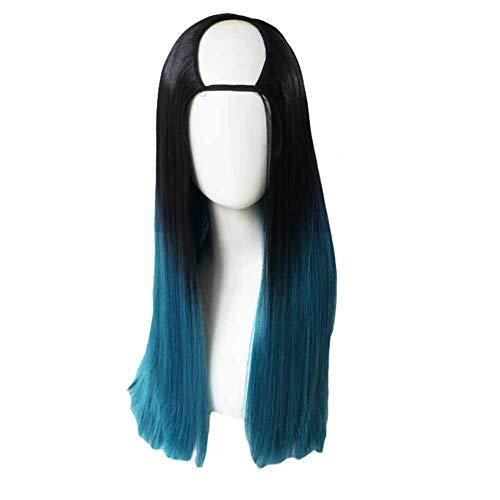 Negro/azul pavo real de 65 cm Herradura 2 Tone Cosplay peluca llena recta larga peluca de pelo