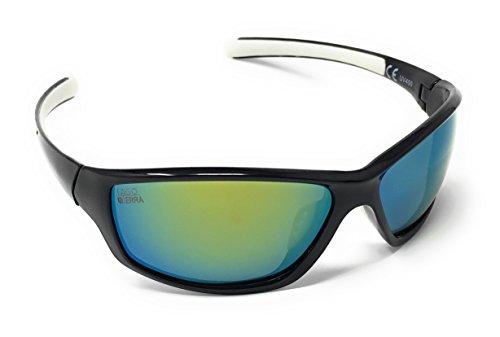 LAGO TERRA Herren Sportive Polarisierte Spiegel Wrap Sonnenbrille, schwarz / weiß