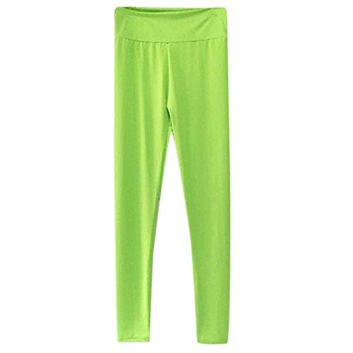 QIYUN.Z Femmes Solides Calecons De Sport Bonbons Fitness Gym Yoga Pantalons Capri Fonctionnement Troncon Vert Fluo